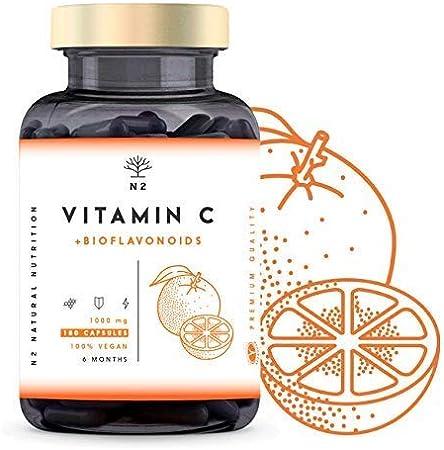VITAMINA C DOSIS ALTA 1000mg + Bioflavonoides - Vit C Pura Natural Reduce el Cansancio y la Fatiga , Contribuye al Funcionamiento del Sistema ...