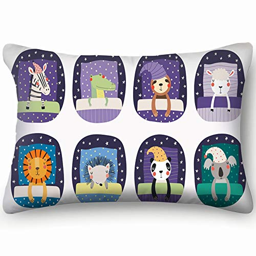 (best bags Set Cute Funny Sleeping Animals Nightcap Wildlife Blanket Throw Pillow Case Cushion Cover Double Side Design 20