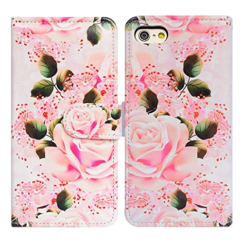 Bfun Packing iPod Touch 6 Case,Bcov Pink Rose Flowers Wallet Leather Cover Case for iPod Touch 6