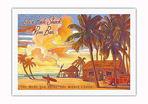 "Pacifica Island Art - Lulu's Fish Shack Rum Bar - ""The More You Drink.The Better I Look"" - Vintage Hawaiian Travel Poster Rick Sharp - Fine Art Rolled Canvas Print ()"