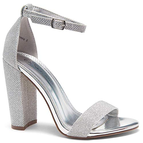 (Herstyle Rosemmina Womens Open Toe Ankle Strap Chunky Block High Heel Dress Party Pump Sandals SilverShimmer 7.5)