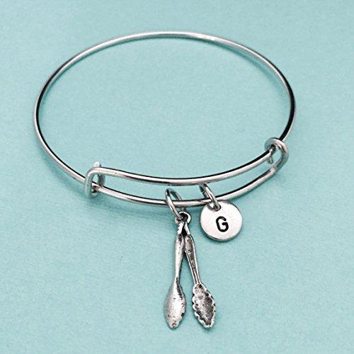 (Tongs bangle, tongs charm bracelet, expandable bangle, charm brangle, personalized bracelet, initial bracelet, monogram)