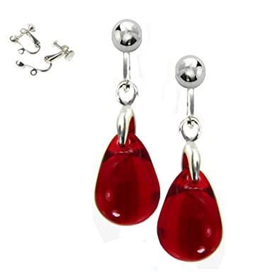 Red Clip On Earrings Glass Teardrops Free Gift Box by Black Moon 7ACV5IWcC