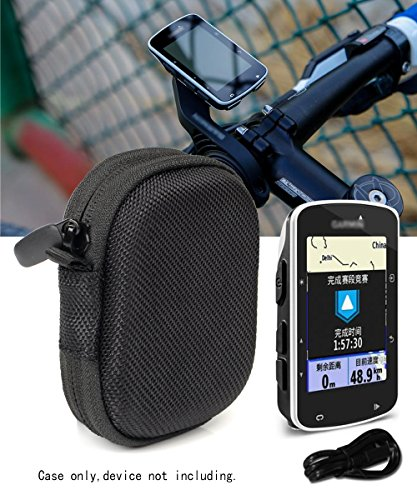 WGear Feature Designed Compact Hard Case for Garmin Edge 520 Bike GP, Edge 820, Elastic Strap in The Base to Secure The Device, and Mesh Pocket for Accessories Ballistic Black
