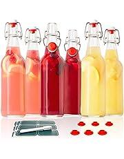 Swing Top Glass Bottles - Flip Top Brewing Bottles For Kombucha, Kefir, Beer - Clear Color - 16oz Size - Set of 6 - Leak Proof Easy Caps, Bonus Gaskets, Chalkboard Labels and Pen - Fast Clean Design
