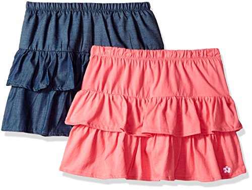 Limited Too Girls' Toddler 2 Pack Shirt, Chambray Blue Prism Pink Jersey Skort Camellia Rose, 2T