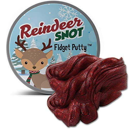 GearsOut Reindeer Snot Fidget Putty Stress Relief Christmas Ideas Funny Gags for Children Weird Kids Stocking Stuffers Secret Santa for Coworkers Unique White Elephant Ideas Red Glitter Putty