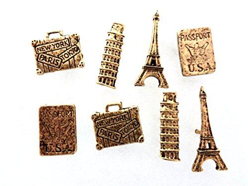 15 Decorative Antique Gold *TRAVEL* Push Pins T-84AG