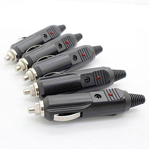 discoGoods 5PCS 12V Male Car Cigarette Lighter Socket Plug Connector With Fuse Red LED Cigar Lighter