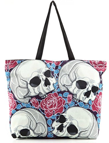 - Belsen Women's Fashion Retro Printing Shopping Shoulder Bags Skull