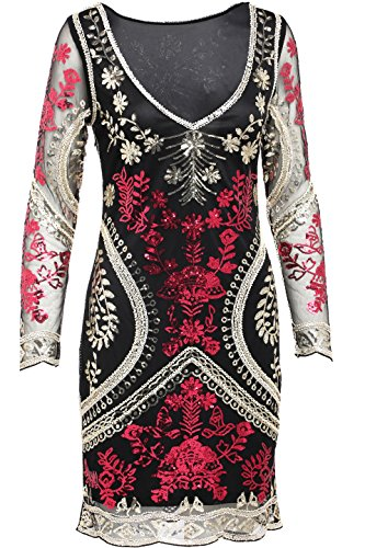 BABEYOND Women's Sequin Flapper Cocktail Embellished Prom Eve Party Dress Sleeve (Embellished Medium Sleeve)