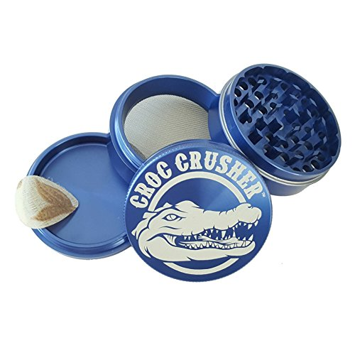Croc Crusher Grinders - 4 Piece Spice Herb Grinder with Pollen Catcher, Large 2.5-Inch (Mlb Medium Gift Bag)