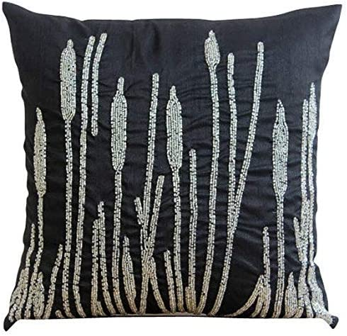 The HomeCentric Handmade Black Euro Sham Covers 26×26 inch 65×65 cm , Silk Euro Pillow Covers, Nature Floral, Paddy, Beaded, Contemporary Euro Size Pillowcases – Black Beauty