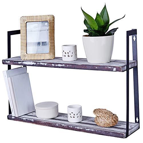 (Wall Mount Rustic Shelves - Floating 2-Tier Hanging Shelf for Kitchen Bedroom Living Room or Bathroom - Solid Pine Wood & Sturdy Steel Bracket - Farmhouse Home Decor)