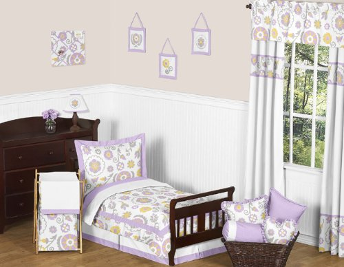 Sweet Jojo Designs Lavender and White Suzanna Bed Skirt for Toddler Bedding Sets