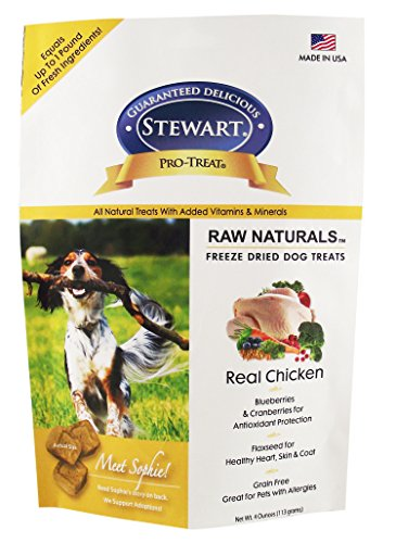 - Stewart Raw Naturals Freeze Dried Chicken Recipe Dog Treats, Grain Free, All Natural, Made in USA by Pro-Treat, 12 oz., Resealable Pouch