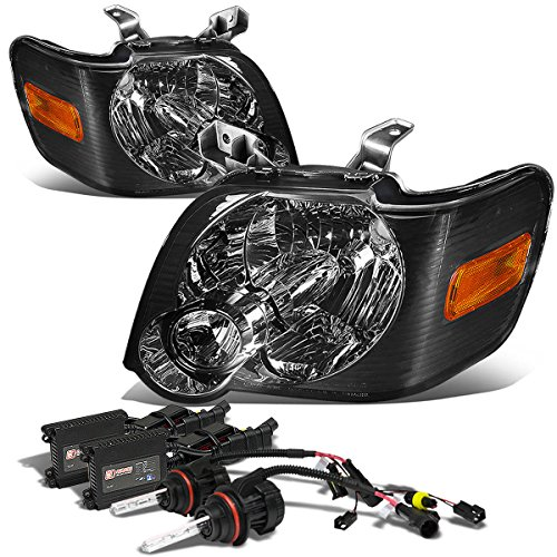 For Ford Explorer/Sport Trac U251 Pair of Smoked Lens Amber Corner Headlights+8000k HID+Slim Ballast