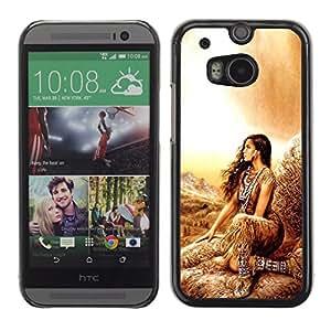 QCASE / HTC One M8 / mujer niña india naturaleza traje nativo marrón / Delgado Negro Plástico caso cubierta Shell Armor Funda Case Cover