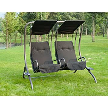 new lyon deluxe 2 seater swing hammock chairs with cup holder new lyon deluxe 2 seater swing hammock chairs with cup holder      rh   amazon co uk