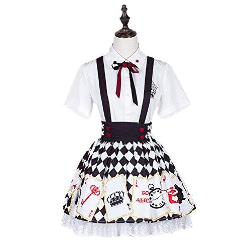 Lolita Skirt Set Casual Cute Print Top And Spaghetti Strap Skirt For Girls (M, Top and skirt) Lolita Skirt