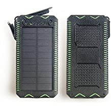Case Safety 1 x 300000mAh Cigarette lighter Solar Waterproof Portable Power Bank Battery Charger for iPhone, iPad, Samsung, other Android mobile phones, Kindles, Gopro Camera, GPS and More Black+Green
