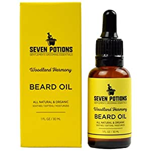 Beard Oil 1 fl oz by Seven Potions. Sweet and Woody Scented Beard Softener. Stops Beard Itch. Natural, Organic, Vegan, Beard Conditioning Oil. Contains Jojoba Oil (Woodland Harmony)