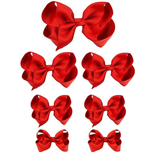 HLIN Toddler Girls 7PCS Red Hair Bow Clips Matching American Girls Doll & Girls (8inch 1,6inch 2, 4.5inch 2, 3inch 2)