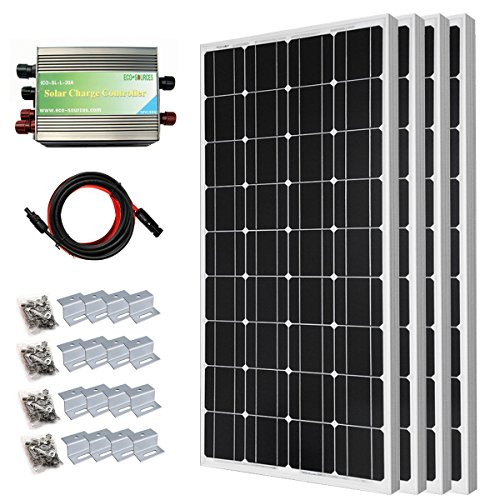 Tied Solar Power Grid System (400 Watt Monocrystalline Solar Panel Starter Kit with 30A PWM Solar Charge Controller Off Grid System)
