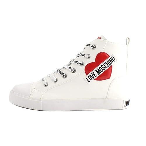 0793904652 Moschino Scarpe Donna Sneaker Alto Love Ecopelle Nappa Bianco Cuore ...