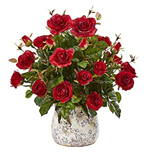 """Nearly Natural 8639-RD 21"""" Garden Rose Artificial Decorative Vase Silk Plants Red 76"""