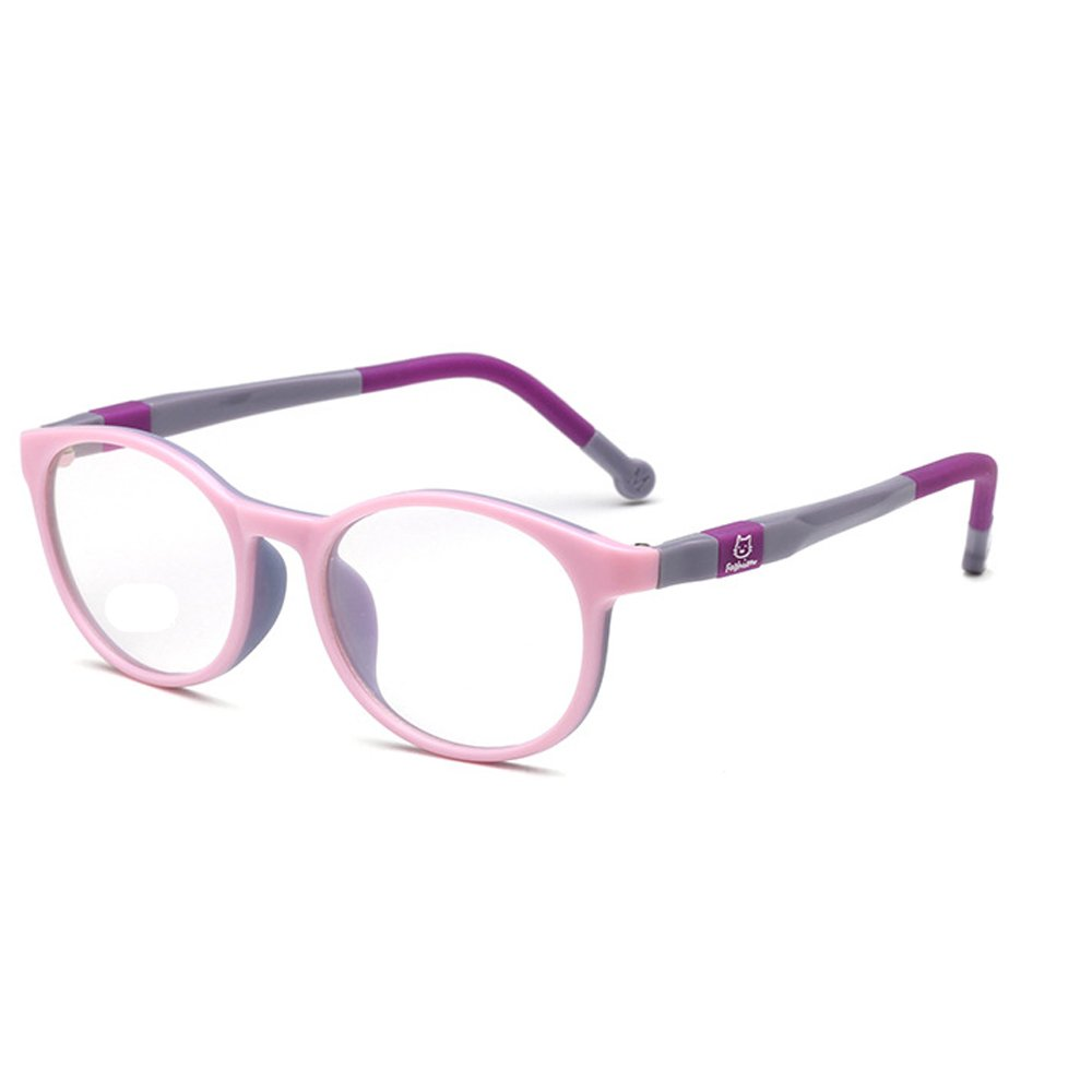 Fantia Kids Safety Flex Optical Round Eye Glasses Prescription Glasses (Pink)