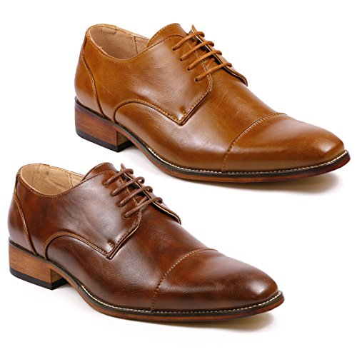 Image of Metrocharm MC106 Cap Toe Lace Up Oxford Classic Dress Shoes