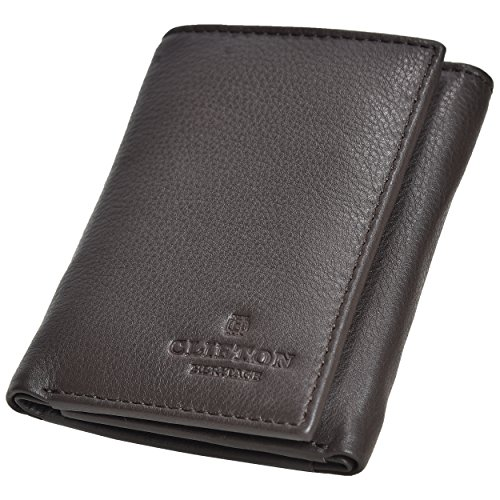 RFID Leather Trifold Wallets for Men- Handmade Slim Front Pocket Men's Wallet 6 Credit Card Holder with ID Window by Clifton Heritage (Image #4)
