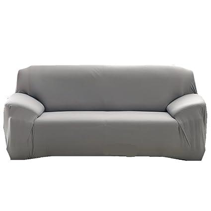 Funda para sofá Funda para 1 2 3 4 plazas sillón fácil elástico elástica Funda de Tela de sofá sofá Pantalla Color Puro, Gris, 2 ...