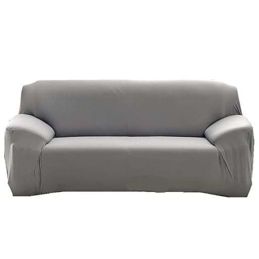 Funda para sofá Funda para 1 2 3 4 plazas sillón fácil elástico elástica Funda de Tela de sofá sofá Pantalla Color Puro, Gris, 2 Seater:145-185cm