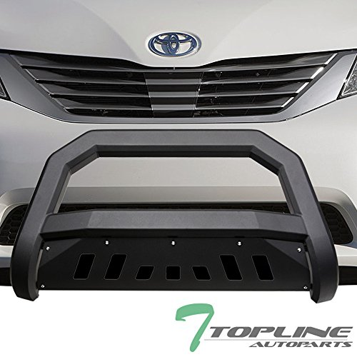 Topline Autopart Matte Black AVT Style Bull Bar Brush Push Front Bumper Grill Grille Guard With Skid Plate For 11-17 Toyota Sienna