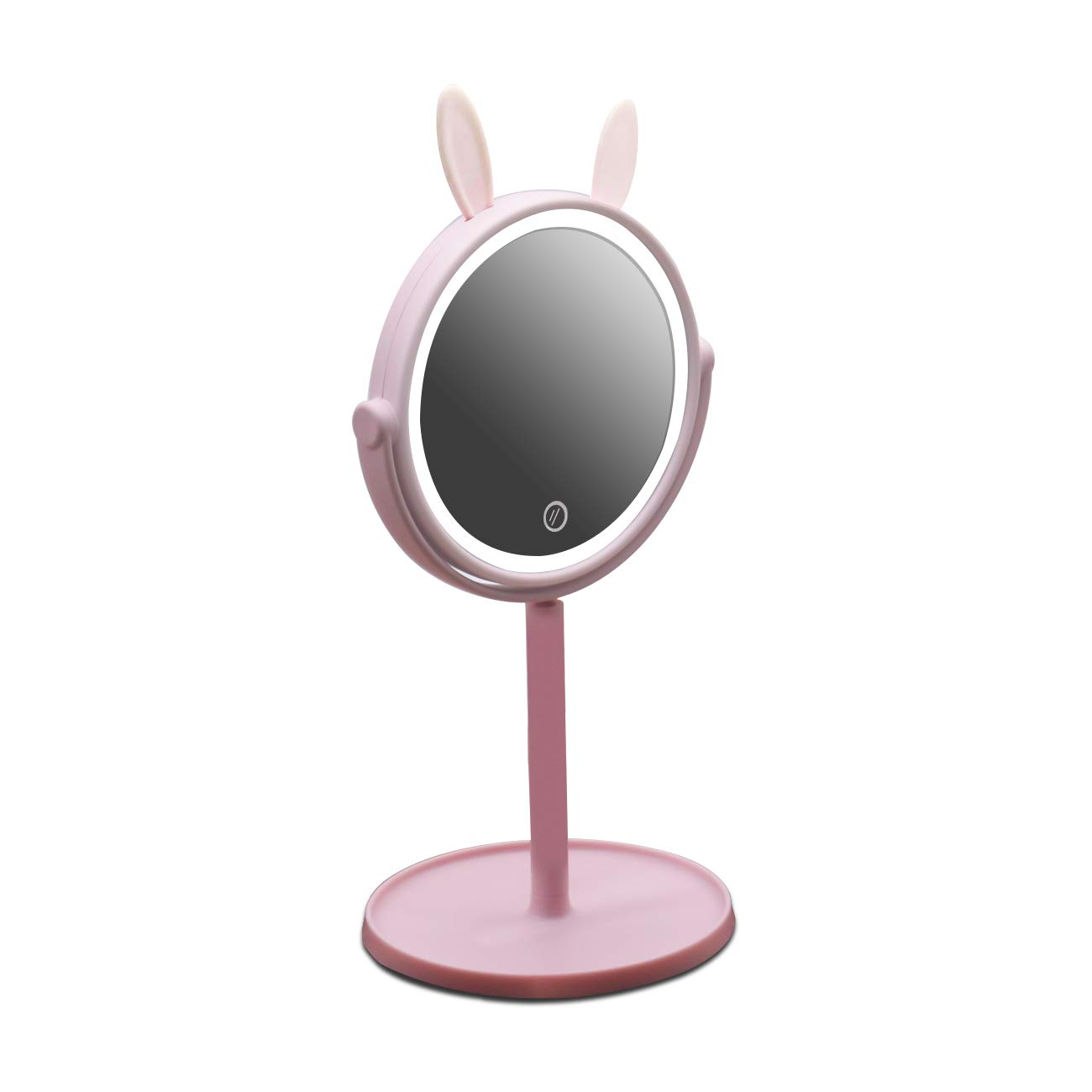 AODAILIHB LED Makeup mirror Enough Storage Bottom Box Cute Rabbit-Shape Soft Lights Dimming By Touch Screen Two In One Traveling Cosmetic Mirror (Pink) …