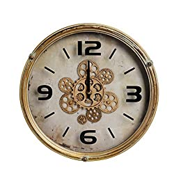NIKKY HOME Vintage Metal Round Moving Gear Mechanism Wall Clock, Distressed Gold
