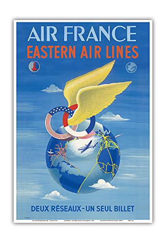Price comparison product image Pacifica Island Art France - Eastern Air Lines - Deux Reseaux (Two Networks - One Single Ticket) - Vintage Airline Travel Poster by Plaquet c.1950 - Master Art Print - 13in x 19in