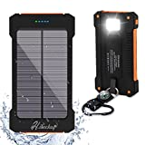 Solar Charger,Hiluckey 10000mAh Solar Power Bank Waterproof Portable Solar Panel Energy Rugged Shockproof Dual USB Port With LED Flashlight for iPhone, Android
