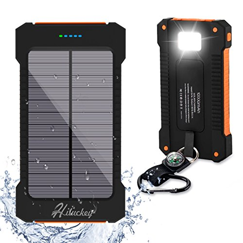 Solar Charger, Hiluckey 10000mAh Solar Power Bank Waterproof Shockproof Portable Phone Charger with LED Flashlight for Outdoor Camping, Travelling, iPhone, iPad, Tablets and Cell Phones