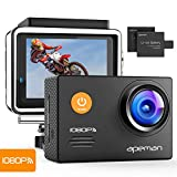 APEMAN Action Camera WiFi 14MP 1080P FHD Underwater Waterproof Diving Sports Camera 2 1050mAh Batteries & Full...