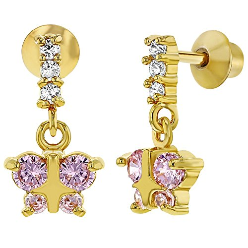 18k Gold Plated Pink Crystal Butterfly Screw Back Dangling Earrings Girls Child