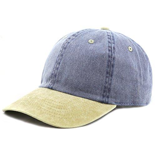 (The Hat Depot Cotton Pigment Dyed Low Profile Six Panel Cap (Navy Khaki))
