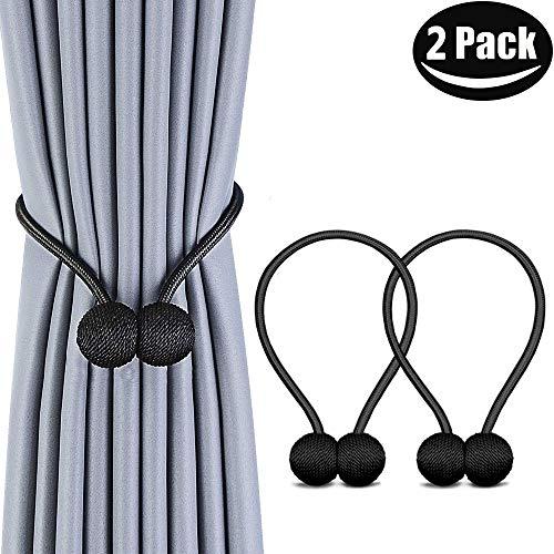 Melaluxe 2 Pack Magnetic Curtain Tiebacks, Decorative Curtain Holdbacks for Window Décor (Black)