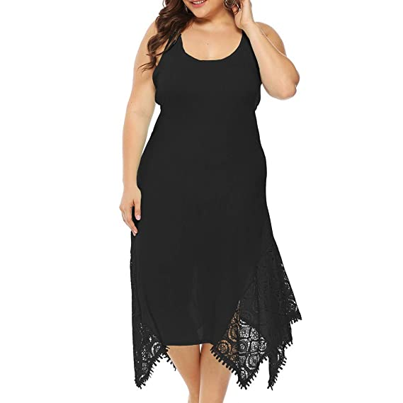 c0b88c2985bd9 HARRYSTORE Womens Dresses Plus Size Camisole Pure Color Backless Lace  Splicing Irregularity Midi Dress Casual Holiday Boho Beach Wedding Guest  Evening Party ...