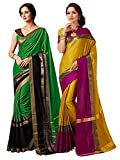 ELINA FASHION Pack of Two Sarees for Indian Women Cotton Art Silk Printed Weaving Border Saree || Sari Combo (Multi 13)