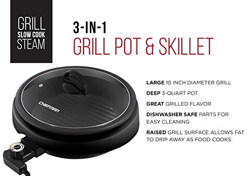 Chefman 3 In 1 Electric Indoor Grill Pot Amp Skillet