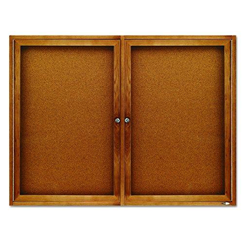 Quartet Enclosed Cork Indoor Bulletin Boards, 3 x 4 Feet, 2 Doors, Oak Finish (364)