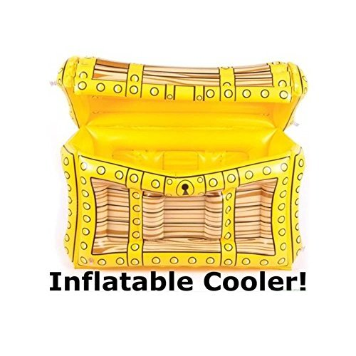 Pirate Treasure Chest Inflatable Beer-Soda-Wine Drink Cooler Portable Pool Party Yellow
